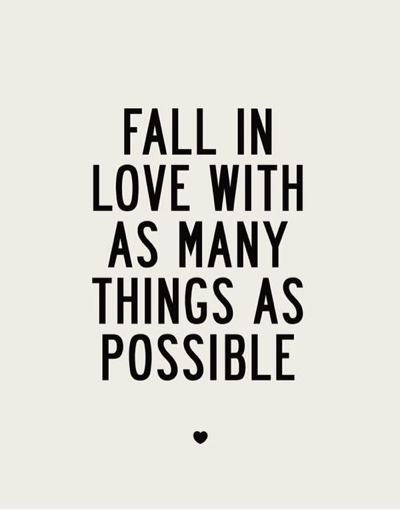 fall in love with things